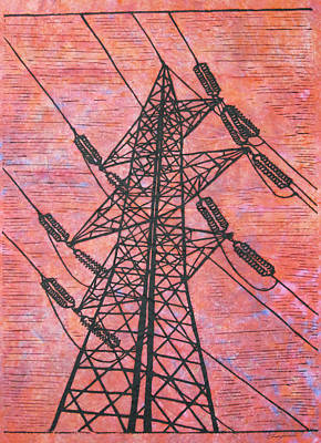 Lino Drawing - Power by William Cauthern