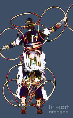 Powwow Hoop Dancer Print by Linda  Parker