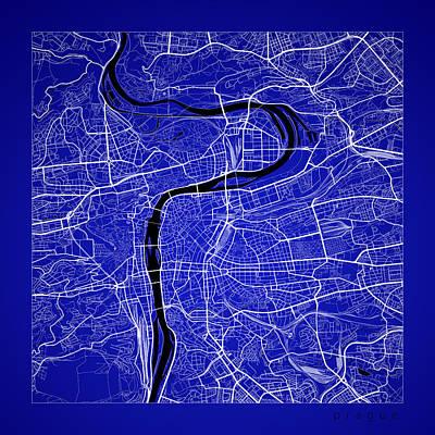 Czech Digital Art - Prague Street Map - Prague Czech Republic Road Map Art On Color by Jurq Studio