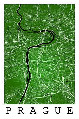 Czech Republic Digital Art - Prague Street Map - Prague Czech Republic Road Map Art On Colore by Jurq Studio