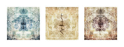 Fabric Collage Photograph - Prayer Flag Triptych by Carol Leigh
