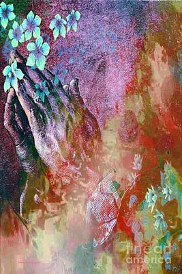 Painting - Praying Hands And Flowers by Annie Zeno