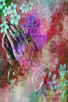 Painting - Praying Hands Flowers And Cross by AZ Creative Visions