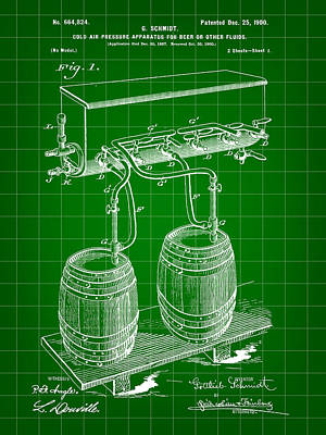 Fermentation Digital Art - Pressure Apparatus For Beer Patent 1897 - Green by Stephen Younts