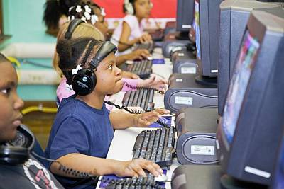 Black Children Photograph - Primary School Computer Lesson by Jim West
