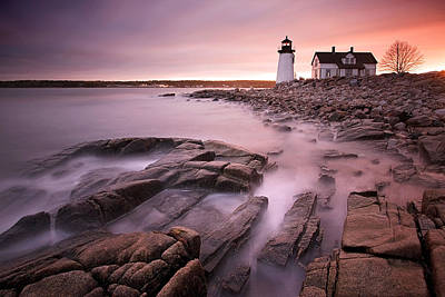 Prospect Harbor Light Art Print by Patrick Downey