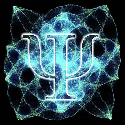 Psi Symbol And Artwork Of A Wavefunction Art Print by Alfred Pasieka