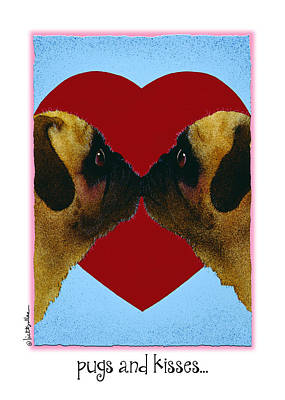 Pug Wall Art - Painting - Pugs And Kisses... by Will Bullas