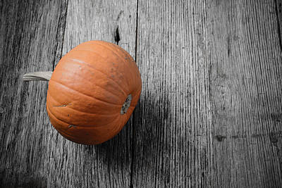 Background Photograph - Pumpkin On Rustic Wood Background by Brandon Bourdages