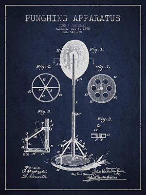 Punching Apparatus Patent Drawing From1895 Art Print by Aged Pixel