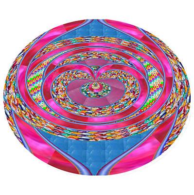 Mixed Media - Purple Sparkle Ribbon Jewels Emblem Unique Border Blue Background  Buy Print Posters Canvas Greeting by Navin Joshi