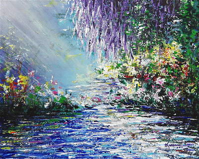 Sun Rays Painting - Purple Tree By The Lake by Kume Bryant