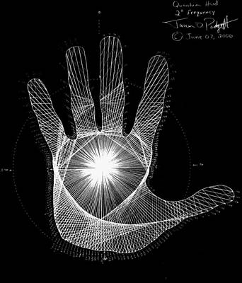 Numbers Drawing - Quantum Hand Through My Eyes by Jason Padgett