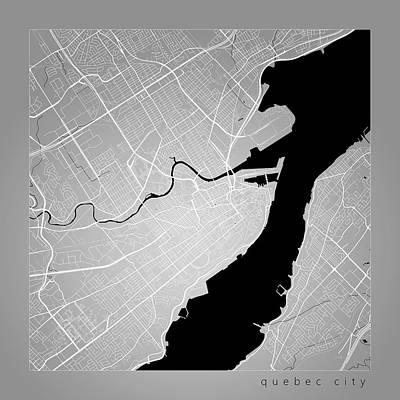 Quebec City Digital Art - Quebec City Street Map - Quebec Canada Road Map Art On Color by Jurq Studio