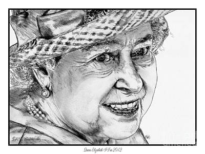 Drawing - Queen Elizabeth II In 2012 by J McCombie