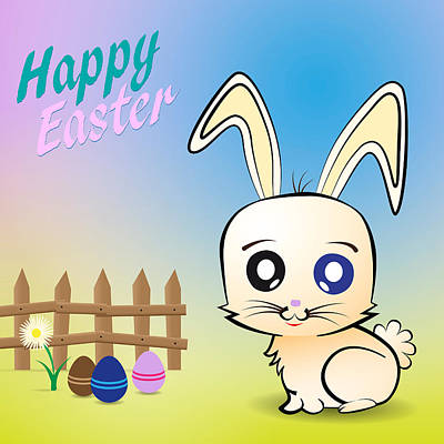 Easter Celebration Drawing - Rabbit And Easter Eggs by Alain De Maximy