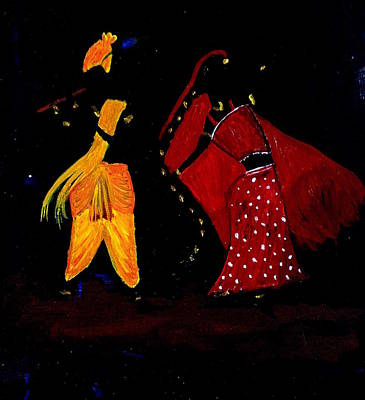 Painting - Radha Krishna Dancing by Pratyasha Nithin