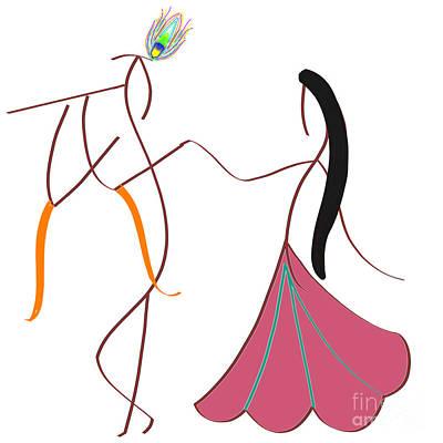 Digital Art - Radha-krishna by Pratyasha Nithin