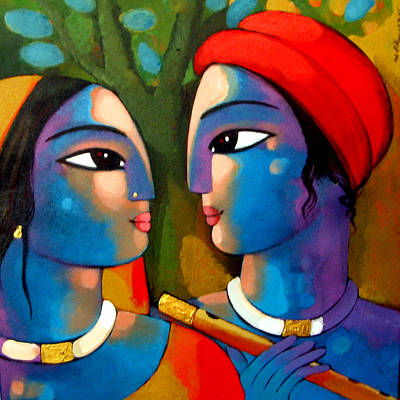 Indian Contemporary Artist Painting - Radha Krishna by Sekhar Roy