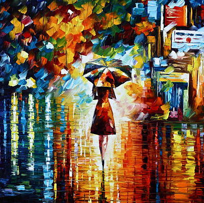Town Painting - Rain Princess - Palette Knife Landscape Oil Painting On Canvas By Leonid Afremov by Leonid Afremov