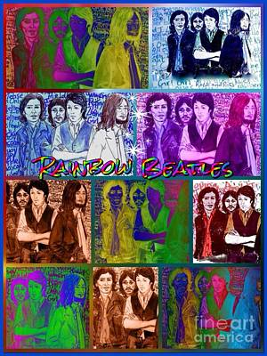 Fab Four Drawing - Rainbow Beatles Collage 2 by Joan-Violet Stretch