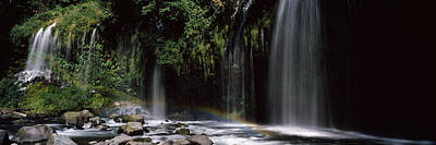 Rainbow Formed In Front Of Waterfall Art Print