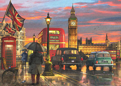 Big Ben Drawing - Raining In Parliament Square by Dominic Davison