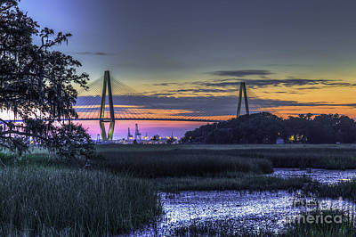 Photograph - Charleston Bridge Low Tide by Dale Powell