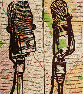 Lino Drawing - 2 Rca Microphones by William Cauthern