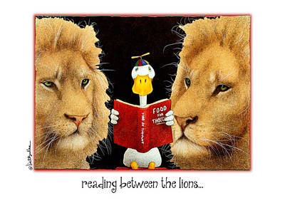Library Painting - Reading Between The Lions... by Will Bullas