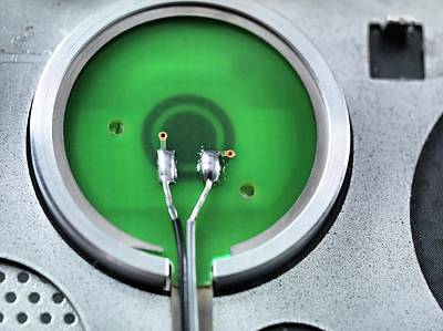 Soldered Photograph - Rear Of A Power Button by Tek Image