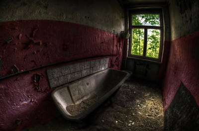 Digital Art - Red Bathroom by Nathan Wright