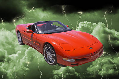 Photograph - Red C5 Corvette Convertible Muscle Car by Keith Webber Jr