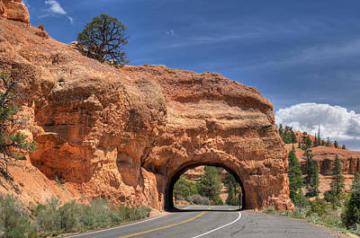 Photograph - Red Canyon National Park Utah Road Tunnel  by Jim Vallee