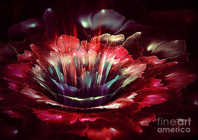 Digital Art - Red Fractal Flower by Martin Capek