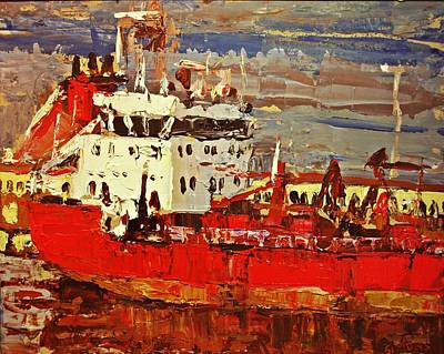 Painting - Red Freighter by Brian Simons