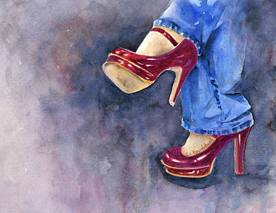 Painting - Red Heels And Jeans by Cynthia Roudebush