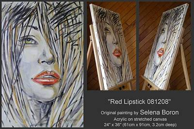 Art Print featuring the painting Red Lipstick 081208 by Selena Boron
