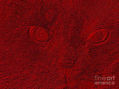 Digital Art - Cat's Face In Red. Art by Oksana Semenchenko