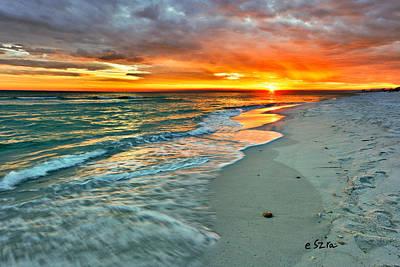 Red Orange Beach Sunset Art Print