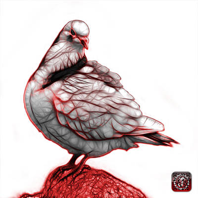 Digital Art - Red Pigeon Pop Art 5516 - Fs - Bb -  Modern Animal Artist James  by James Ahn