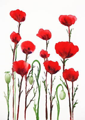 Painting - Red Poppies by Irina Sztukowski