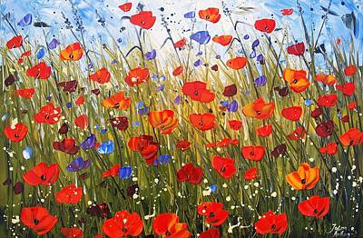 Red Poppifield Art Print by Jolina Anthony