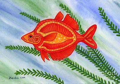 Fish Painting - Red Rainbow Fish by Lori Ziemba