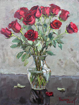 Bouquet Painting - Red Roses by Ylli Haruni