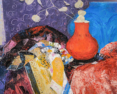 Painting - Red Vase Among Fabrics by Judith Barath