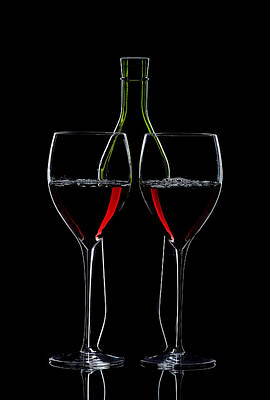 Red Wine Bottle And Wineglasses Silhouette Art Print by Alex Sukonkin