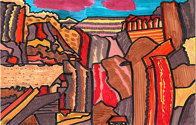 Animation Drawing - Redrocks by Don Koester