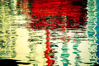 Watercolor Typographic Countries - Reflection In Water Of Red Boat by Raimond Klavins