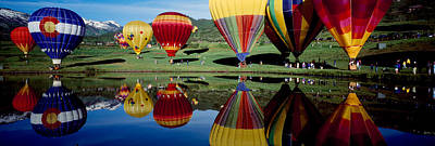 Balloons Photograph - Reflection Of Hot Air Balloons by Panoramic Images